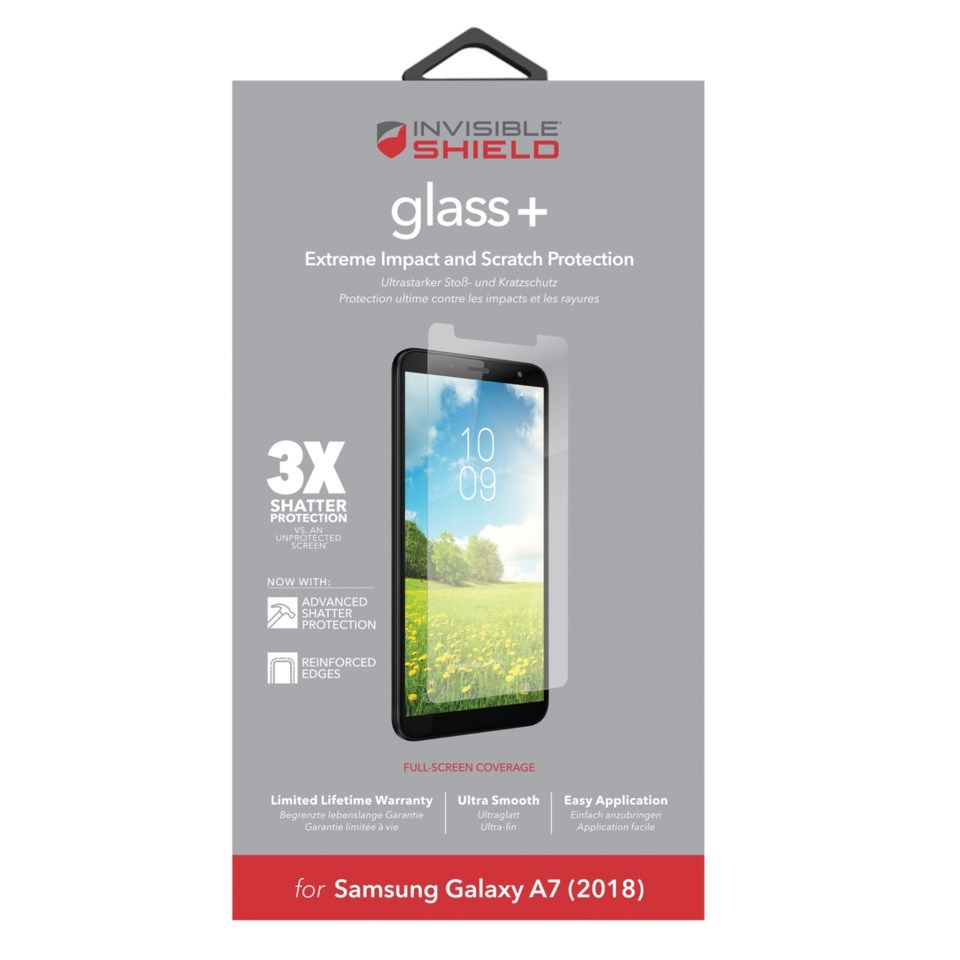 Invisible Shield Glass+ Skjermbeskytter for Galaxy A7 2018