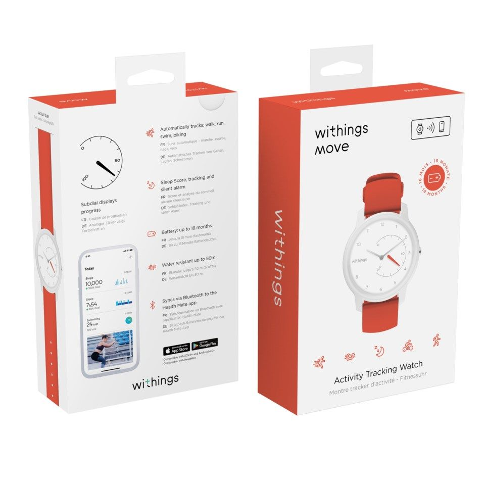 Withings Move Aktivitetsarmband Vit/Rosa