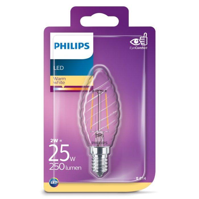 Philips LED-pære Mignon vridd LED E14 250 lm
