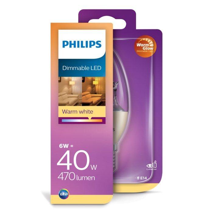Philips Dimbar LED-lampa E14 470 lm