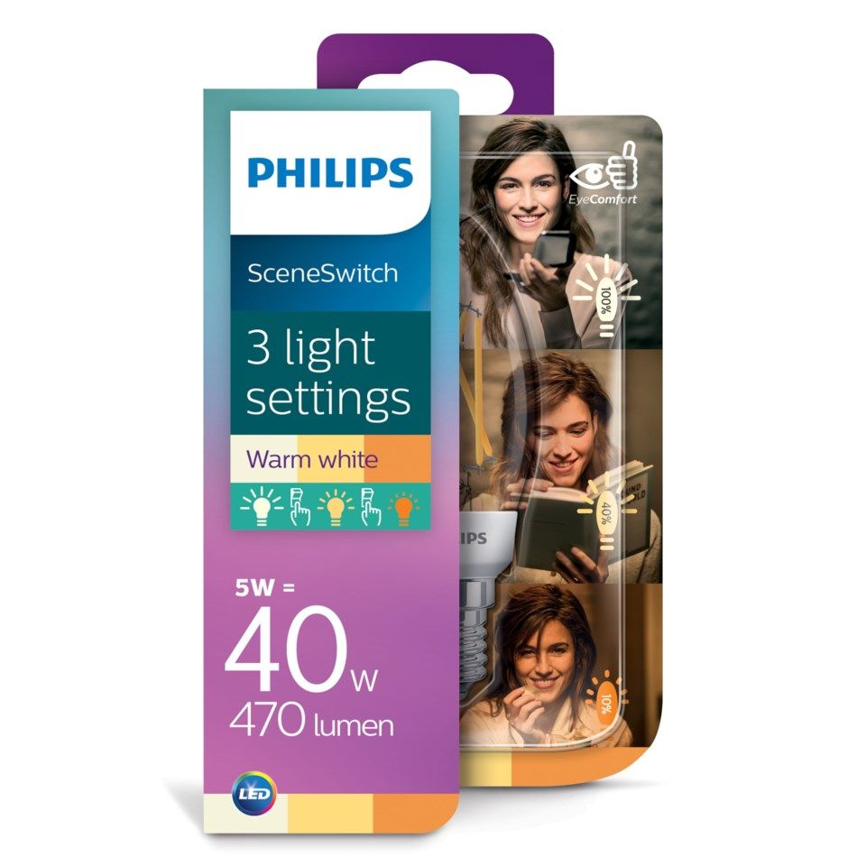 Philips Sceneswitch LED-pære Mignon E14 470 lm