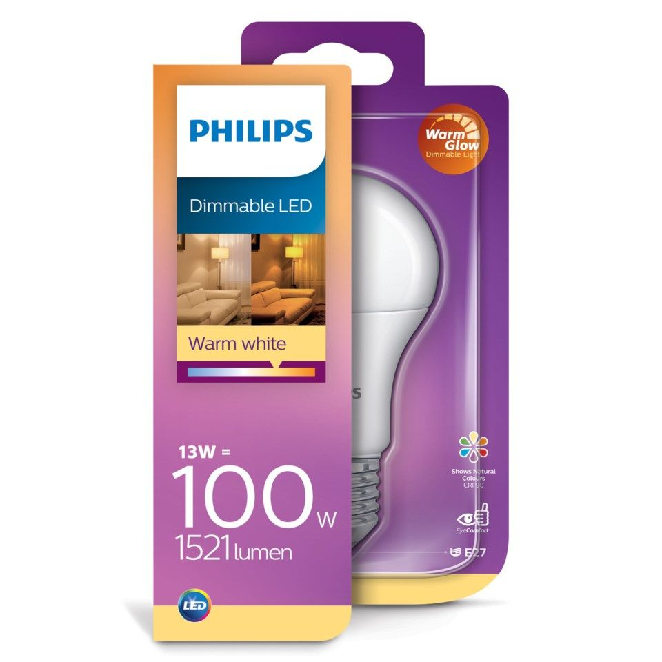 Philips Dimbar LED-lampa E27 1521 lm