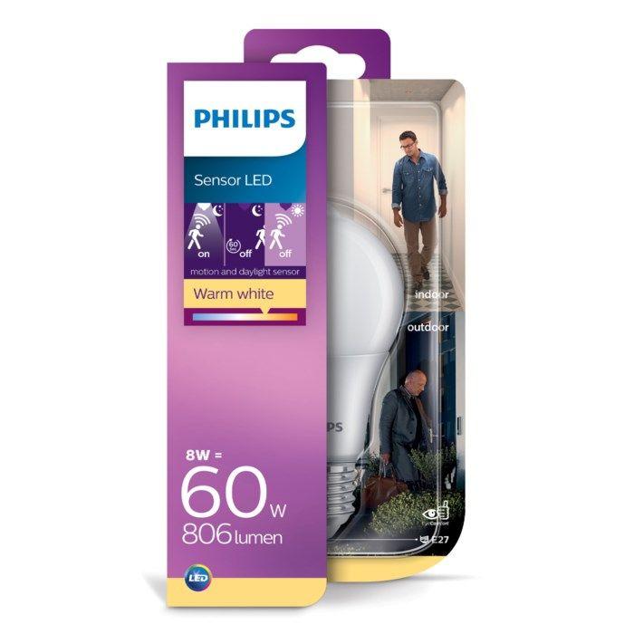 Philips LED-lampa med rörelsesensor E27 806 lm