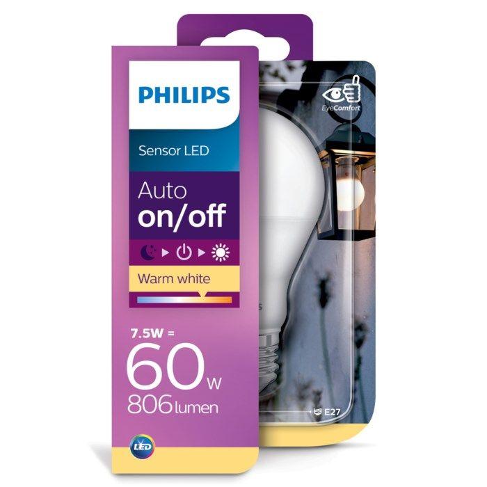 Philips LED-lampa med skymningsrelä E27 806 lm