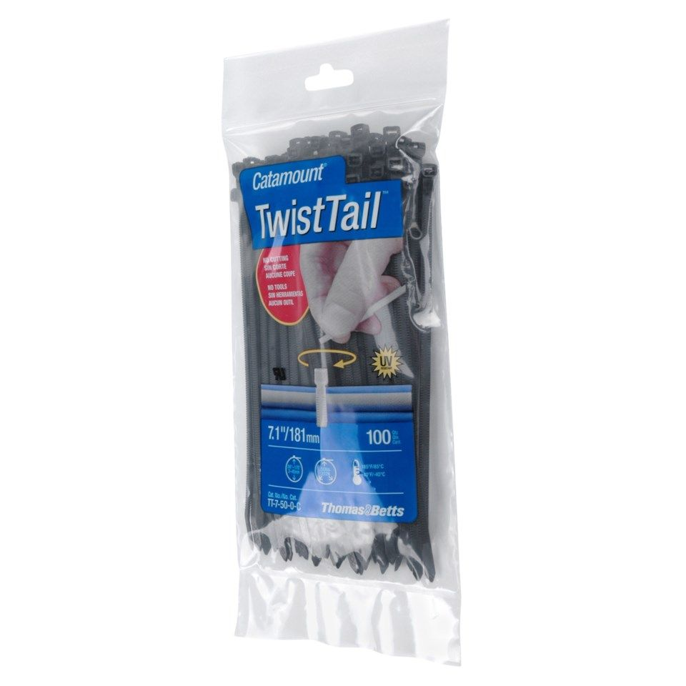 Buntebånd Twist Tail 282x4,7 mm 50-pk. - Svart