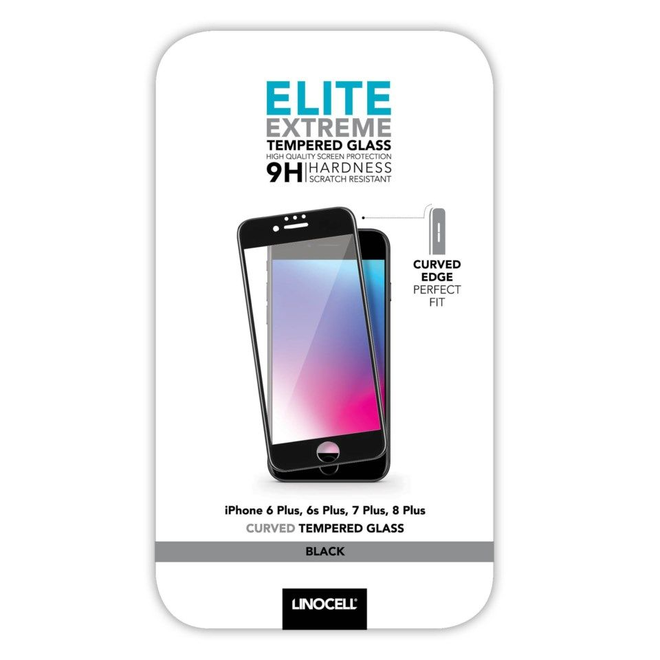 Linocell Elite Extreme Curved Skjermbeskytter for iPhone 6, 7 og 8 Plus Svart
