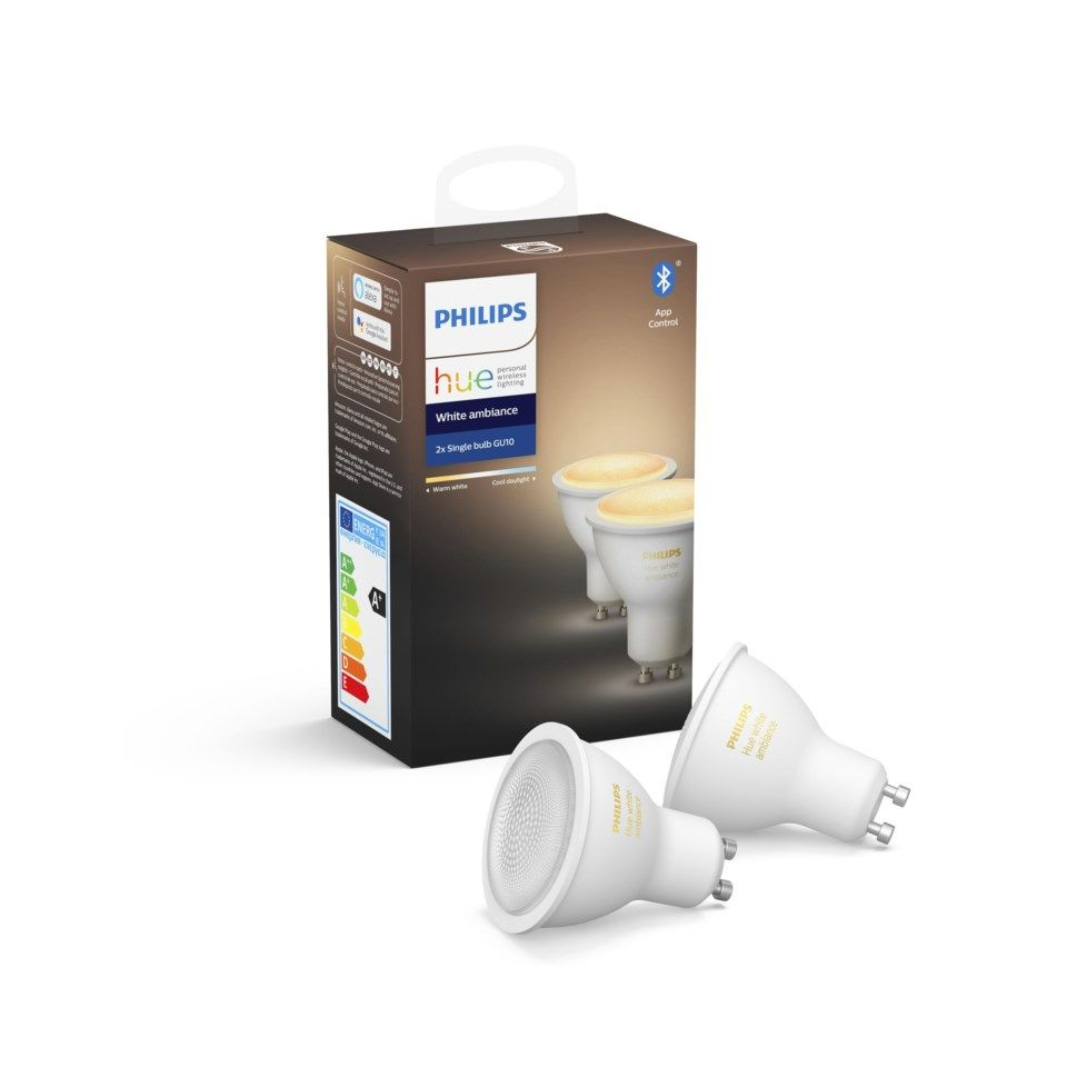 Philips Hue Ambiance Smart LED-pære GU10 350 lm 2-pk.