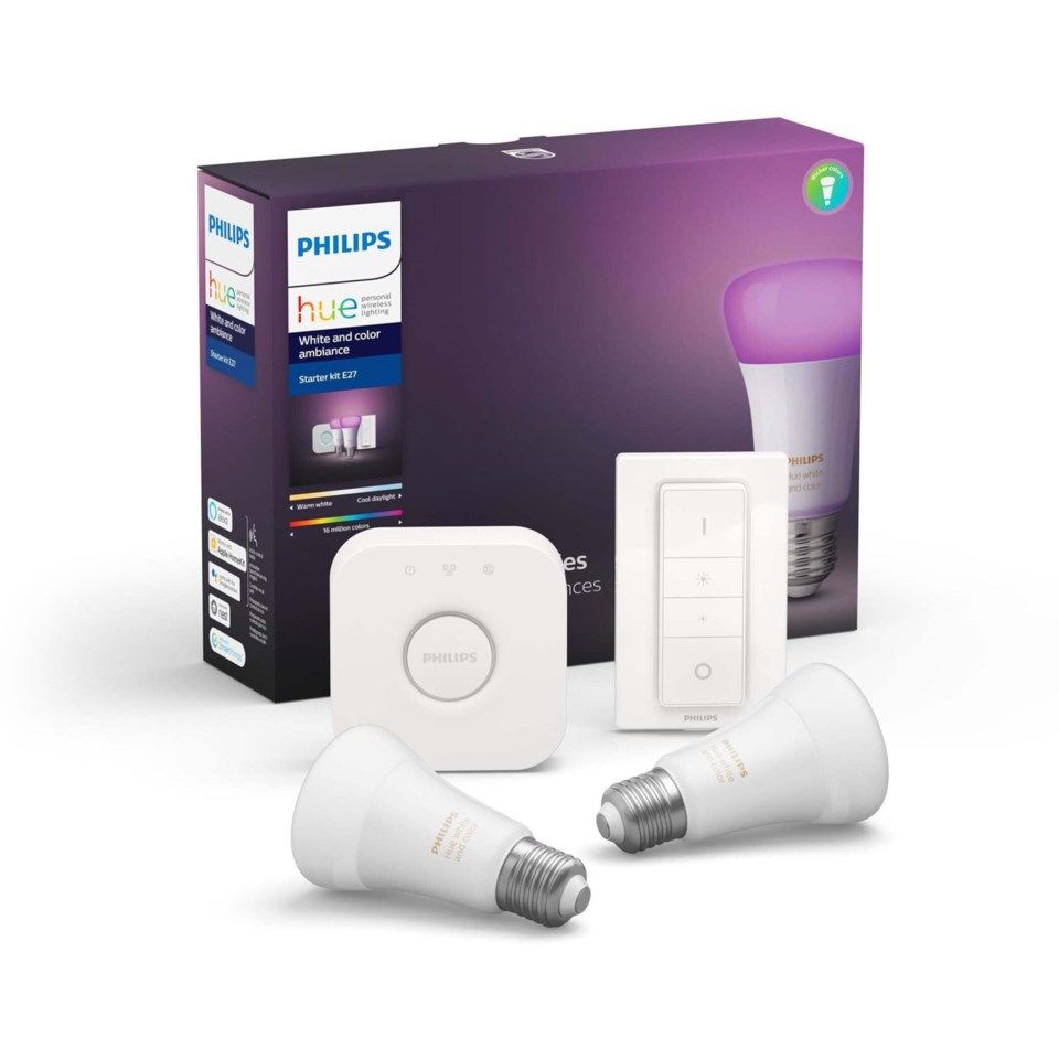 Philips Hue Color Ambiance Startpaket Smarta LED-lampor 2-pack