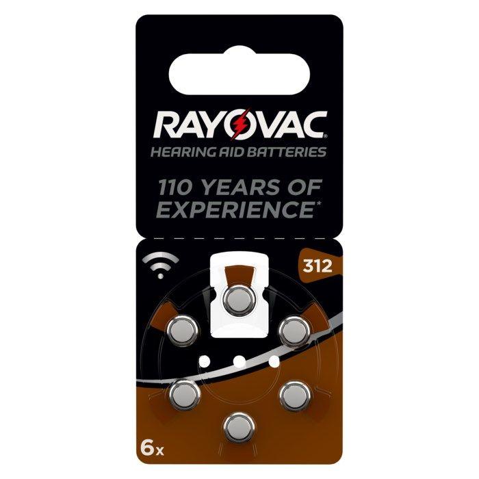 Rayovac Hörapparatsbatterier Brun ZA312 6-pack