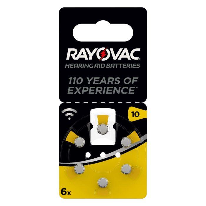 Rayovac Hörapparatsbatterier Gul ZA10 6-pack