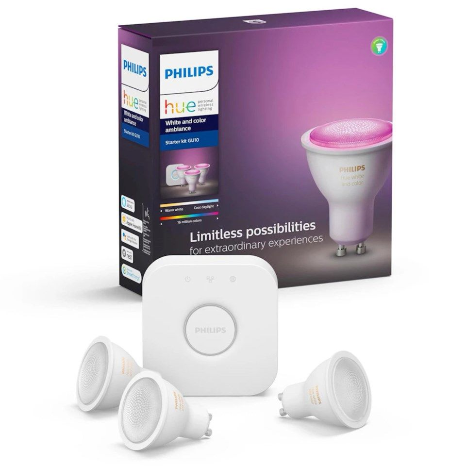 Philips Hue Color Ambiance GU10 Startpaket Smarta LED-lampor3-pack