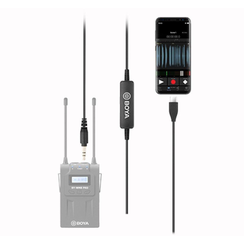 Boya 35C USB C USB C til 3,5 mm spiralkabel for mikrofon