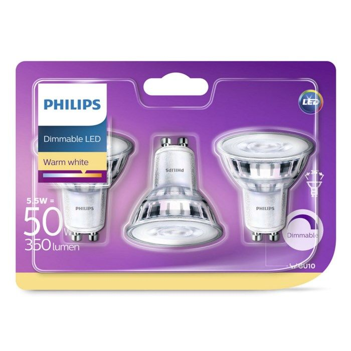 Philips LED-lampa GU10 345 lm 3-pack