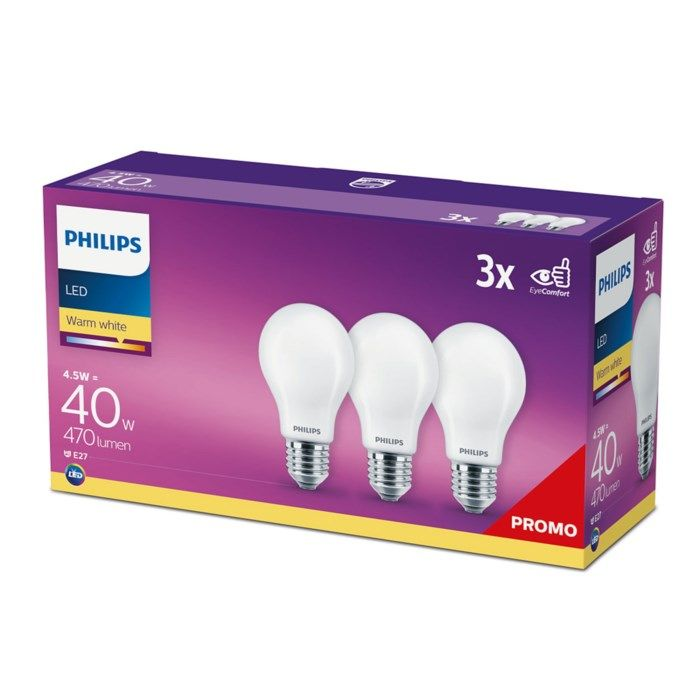 Philips LED-lampa E27 470 lm 3-pack
