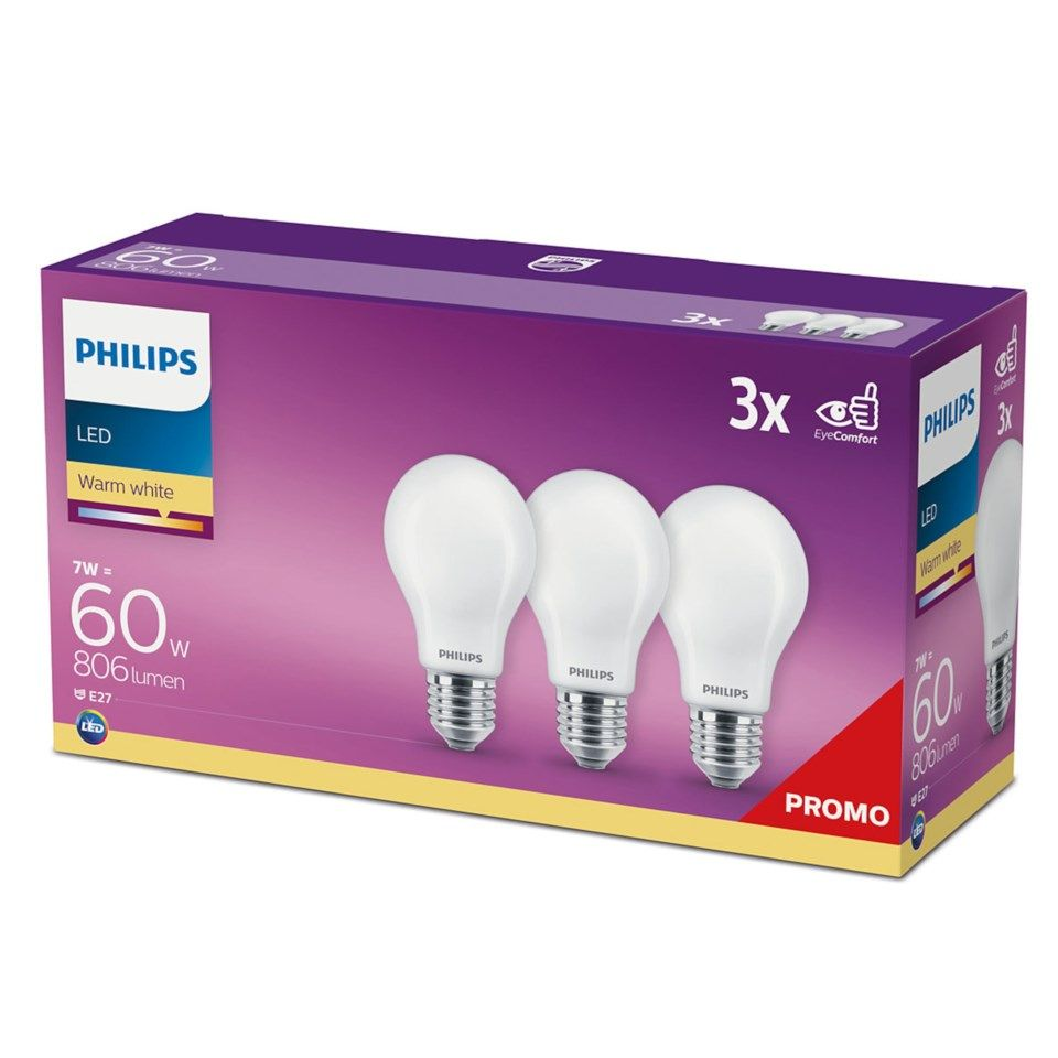 Philips LED-pære E27 806 lm 3-pk.