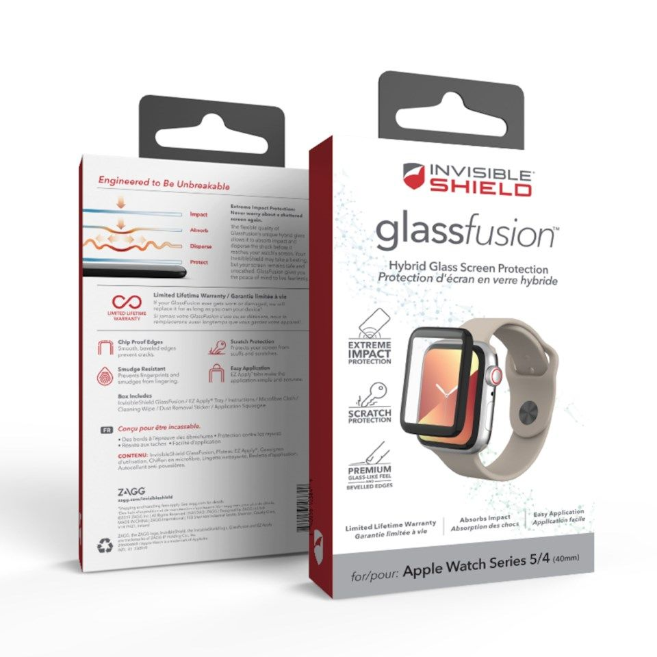 Invisible Shield Glass Fusion for Apple Watch 4/5/6 og SE, 40 mm