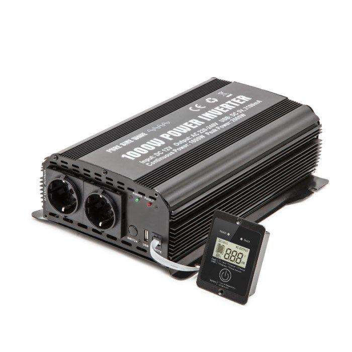 Luxorparts Växelriktare med ren sinusvåg 1000 W