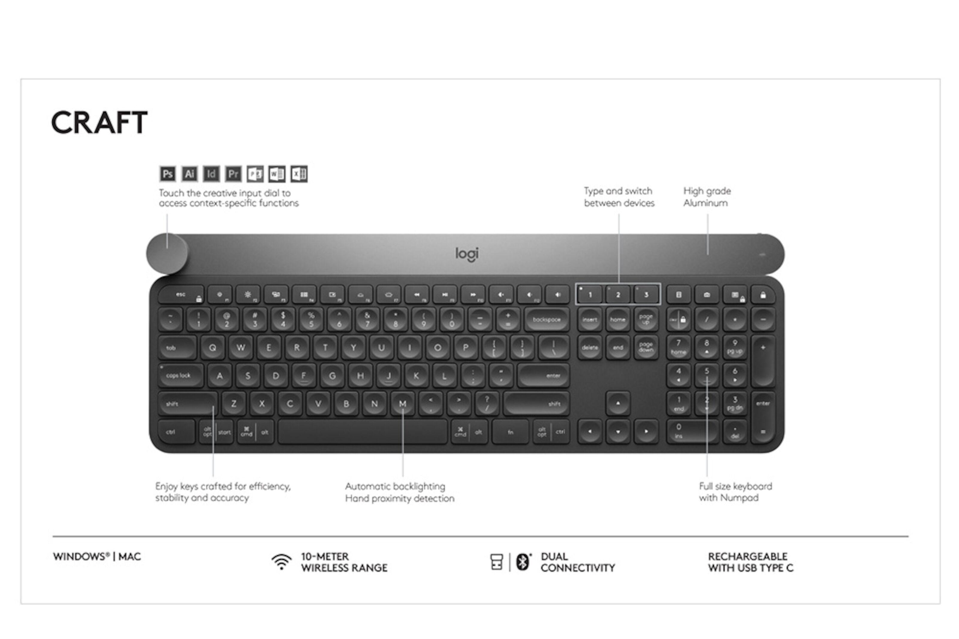 Logitech Craft Trådløst tastatur
