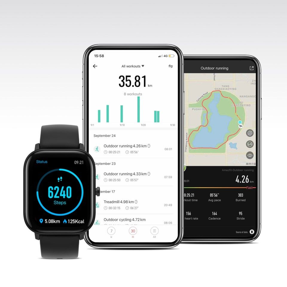 Amazfit GTS Smartklocka med always-on-display Svart