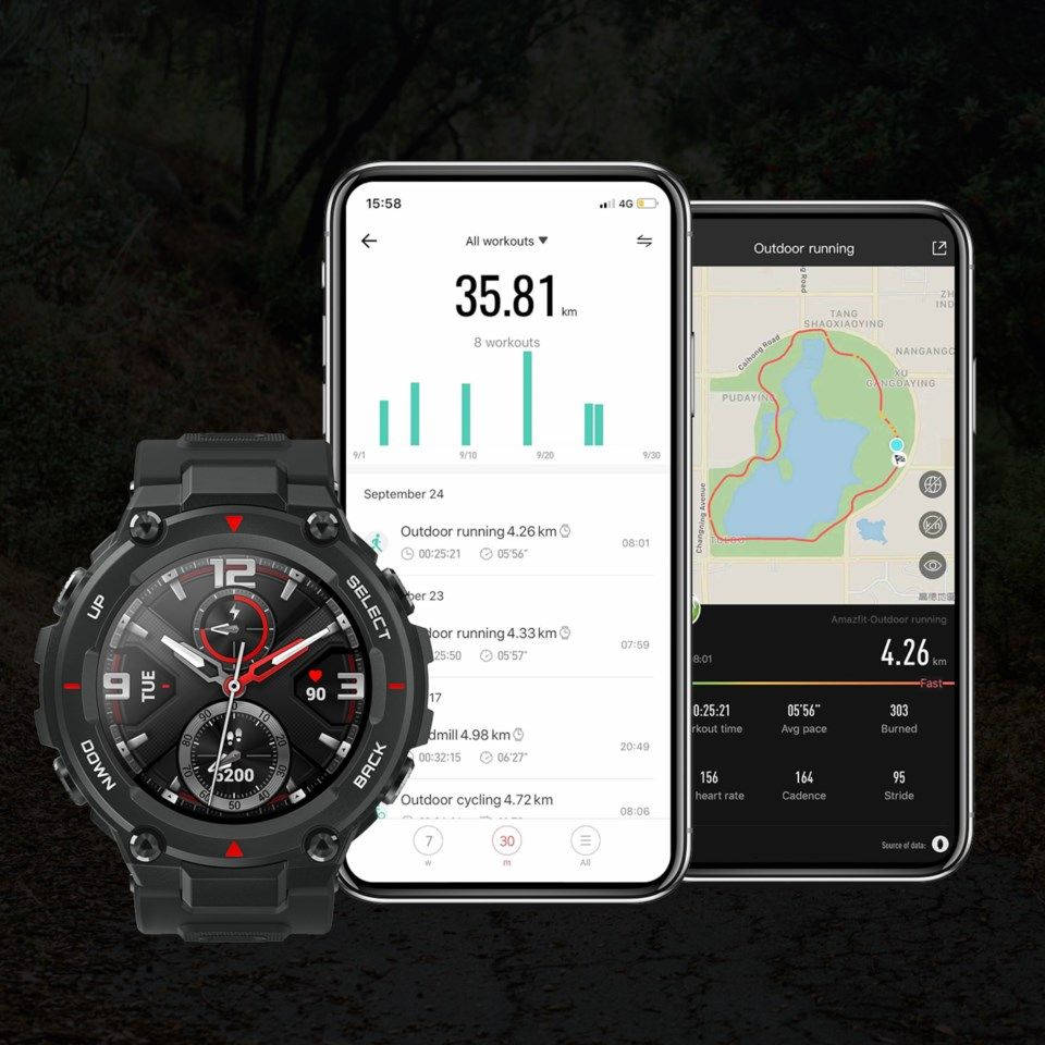 Amazfit T-REX Smartklocka med always-on-display Svart