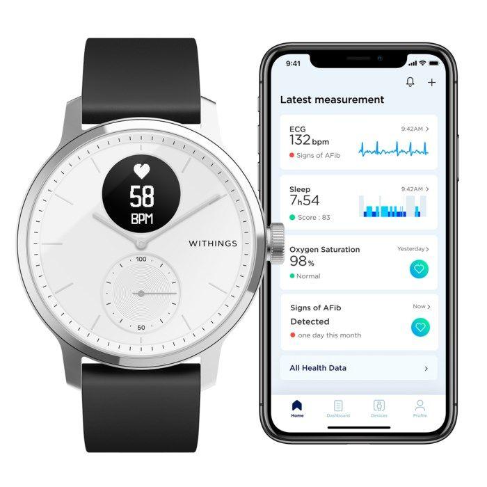 Withings Scanwatch Smartklokke med klassisk urtavle 42 mm Hvit