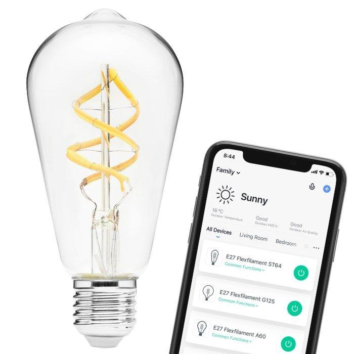 Cleverio Smart E27 ST64 Filament LED-lampa 450 lm