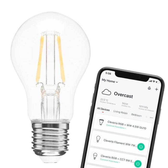 Cleverio Smart E27 Filament LED-lampa 800 lm