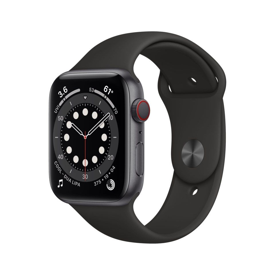 Apple Watch Series 6 (GPS + Cellular) 44 mm Space Grey/Svart