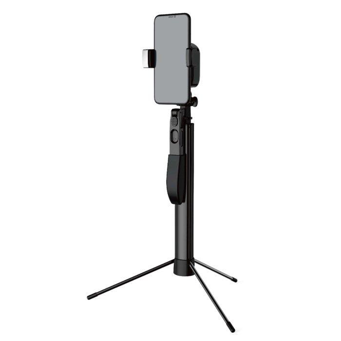 Stativ och selfie-stick med avtryckare till mobilen