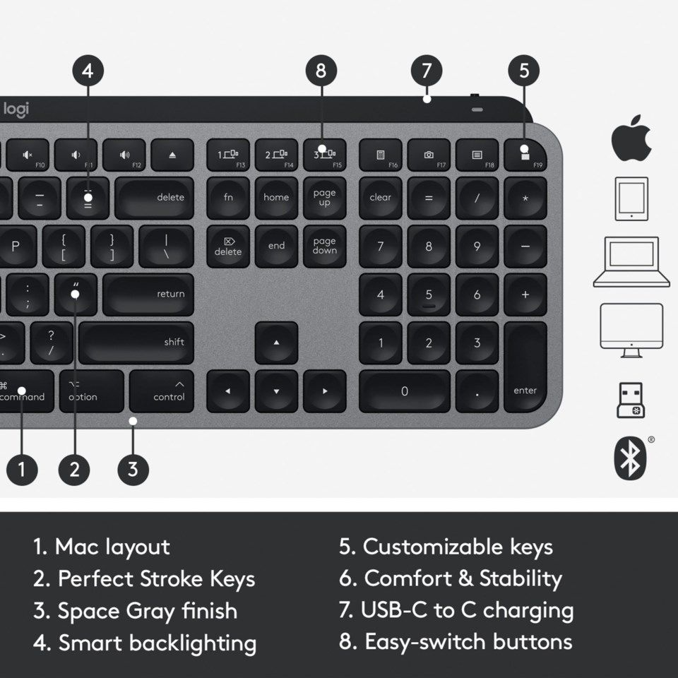 Logitech MX Keys for Mac Trådløst tastatur