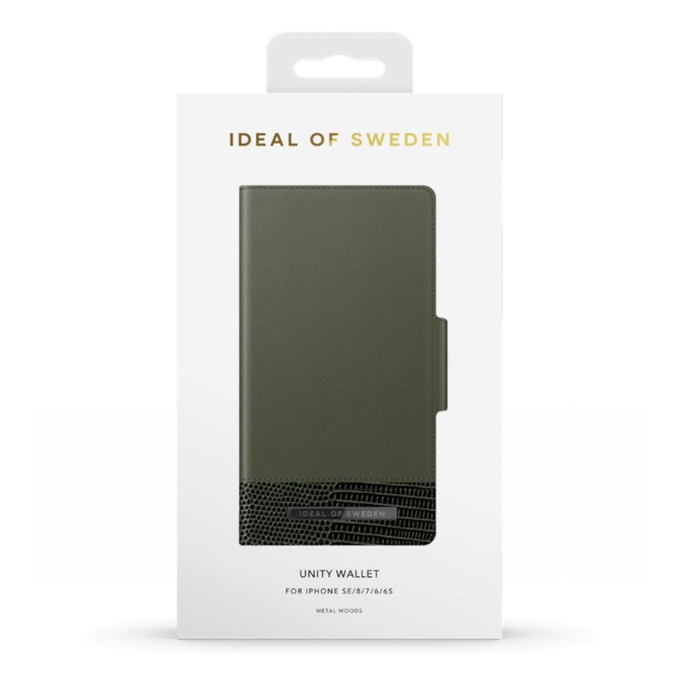 IDEAL OF SWEDEN Unity Wallet Magnetisk mobilplånbok för iPhone 6-8 och SE Metal Woods