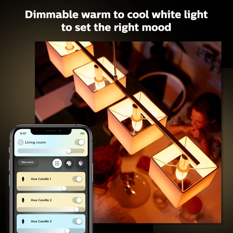 Philips Hue Ambiance Smart LED-lampa E14 470 lm 2-pack