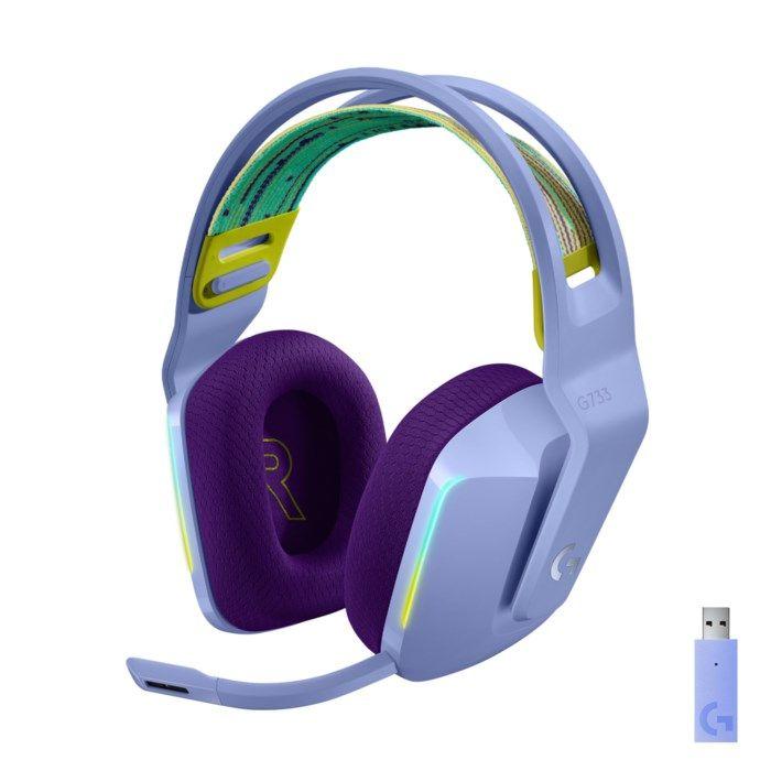 Logitech G 733 Lightspeed Trådlöst gaming-headset Lila