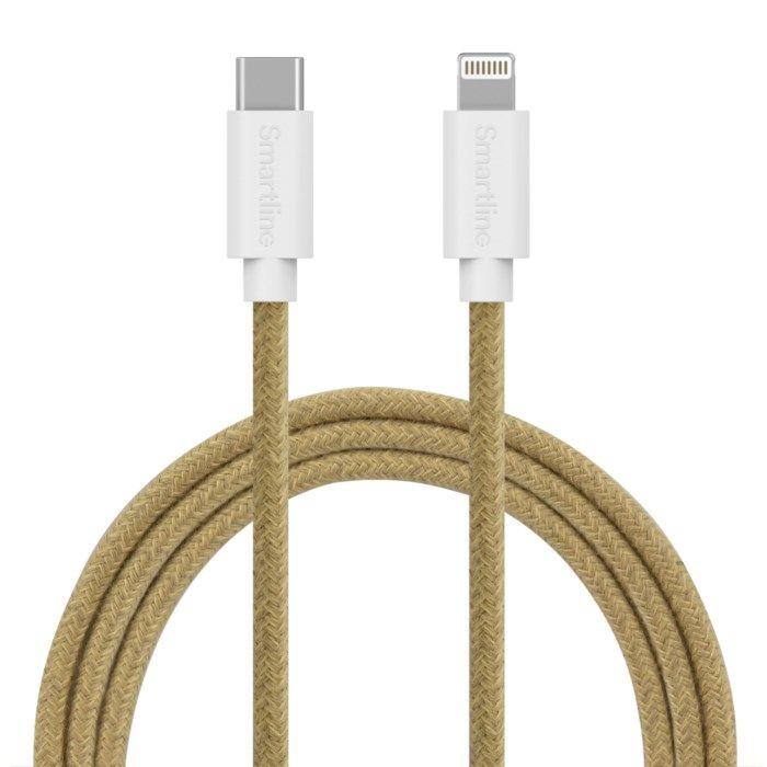 Smartline Fuzzy Lightning till USB-C-kabel 2 m Sand