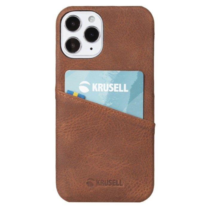 Krusell Plånboksskal för iPhone 12 och 12 Pro Cognac
